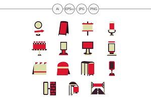 Outdoor advertising red icons. Set 2