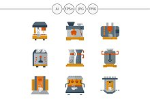 Coffee equipment flat color icons
