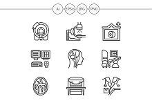 MRI diagnosis line icons. Set 3