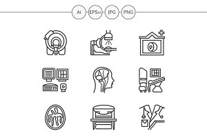 MRI diagnosis line icons. Set 3