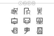 Cat selfie simple line icons. Set 4