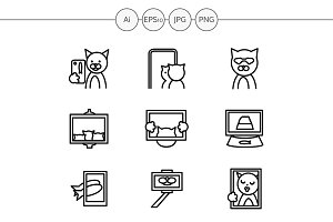 Cat selfie simple line icons. Set 4
