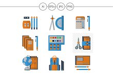 School supplies flat icons. Set 3