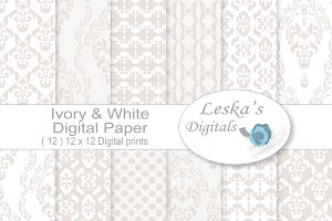 White Wedding Digital Paper - Lace