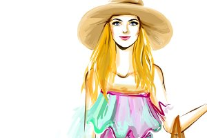 Watercolor girl in hat on white