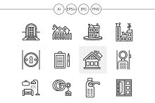Housing agency line icons. Set 3