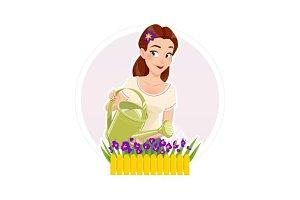 Gardening. Beautiful girl watering flower.