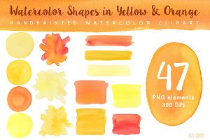 Watercolor Shapes in Yellow & Orange