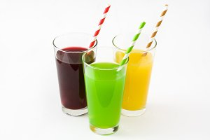Fresh fruit smoothies isolated