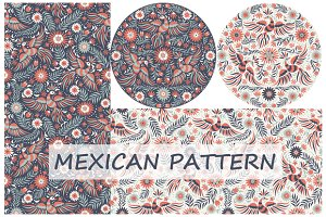 Set Mexican floral pattern 2