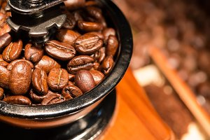 Coffee beans in coffee-mill.