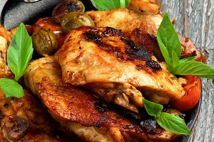 Roasted Chicken with Olives