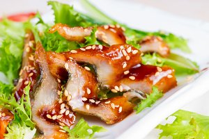 Fish smoked eel with unagi sauce