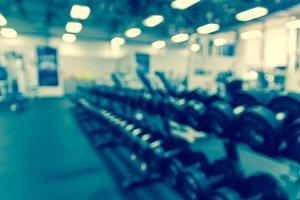 Dumbbells in fitness center