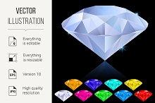Realistic diamonds in different colo
