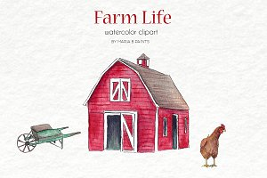 Watercolor Clip Art - Farm Life
