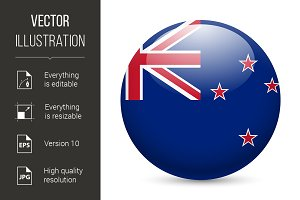 Round glossy icon of New Zealand