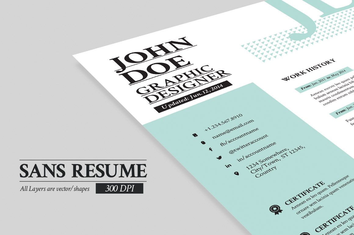 Sans resume cover letter portfolio resume templates creative sans resume cover letter portfolio resume templates creative market madrichimfo Image collections