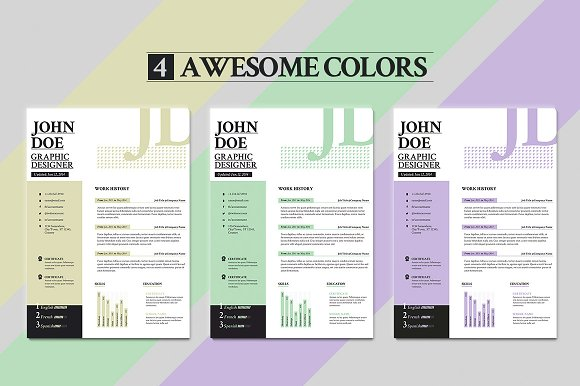sans resume cover letter portfolio resume templates on creative market