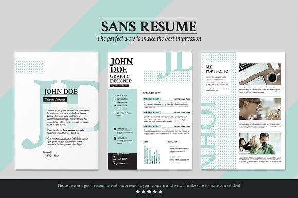 sans resume cover letter portfolio resume templates creative