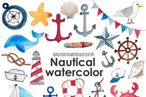 Nautical watercolor clip art