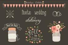 Rustic wedding design elements set