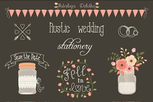 Rustic wedding design elements set