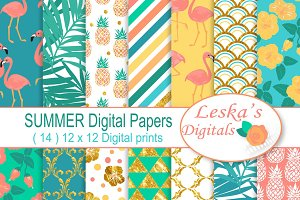 Summer Digital Paper Patterns