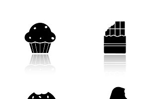 Sweets drop shadow icons set. Vector