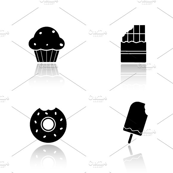 Sweets drop shadow icons set. Vector - Icons