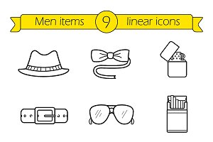 Men accessories icons. Vector