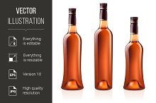 Bottles of cognac (brandy). Vector i