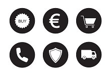 Online store black icons set. Vector