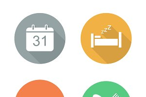 Everyday activities icons. Vector