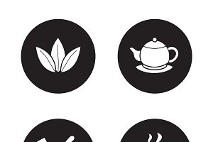 Tea items simple icons set. Vector