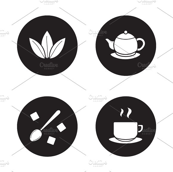 Tea items simple icons set. Vector - Icons