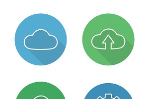 Cloud hosting icons. Vector