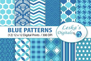 Digital Paper - Blue Patterns