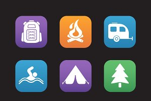 Tourism and camping icons. Vector