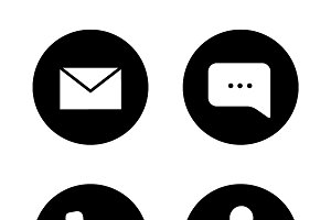 Tech support black icons set. Vector