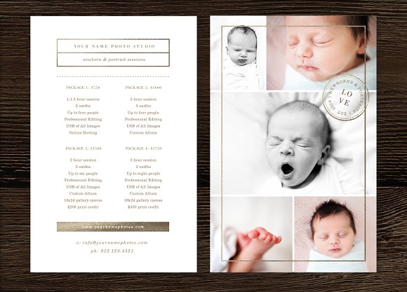 Newborn photography pricing guide flyer templates creative market