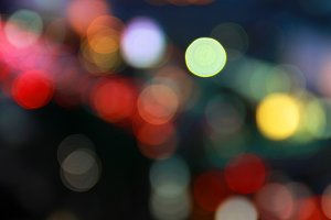 Abstract of bokeh on street