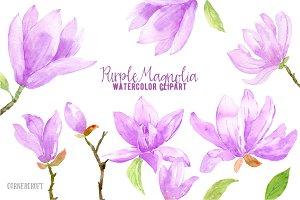 Watercolor Purple Magnlia