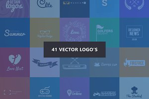 41 Flat Vector Logos PSD Pack Deal