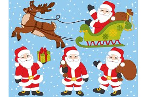 Vector Santa Claus Set with Deer