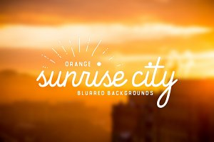 Orange Sunrise City blurred bg