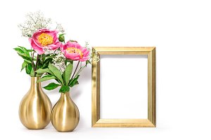 Golden picture frame pink flowers