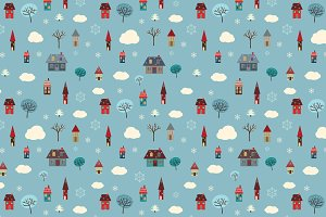 Winter Houses (seamless pattern)