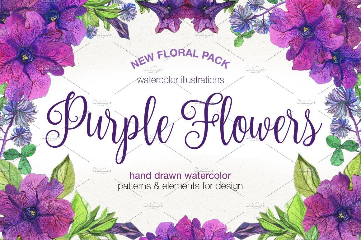 Purple Flowers Graphic Patterns Creative Market