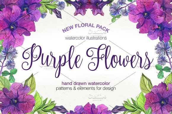 purple flowers graphic patterns creative market